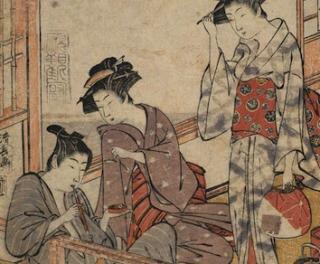湯帷子を着た婦人の浮世絵
